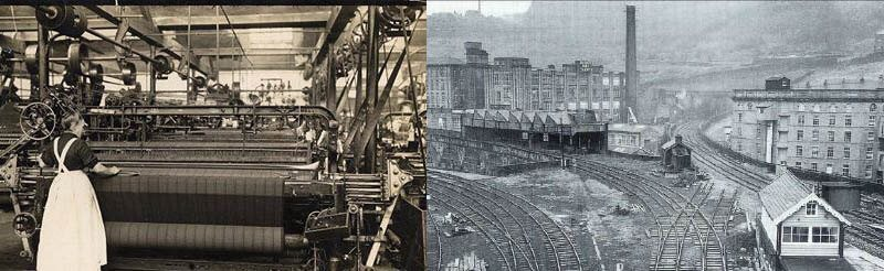 Weavers at textile mills in 1850 and Halifax train station, UK in 1850