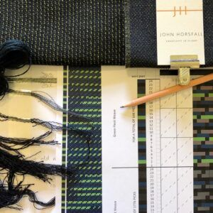 a photo of fabric, yarns and weaving designs for blankets